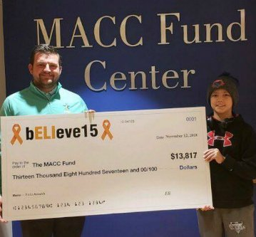 MACC Fund donation by bELIeve15 Foundation